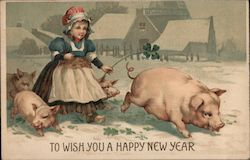 To Wish You a Happy New Year - Girl, Four Leaf Clovers and Pigs