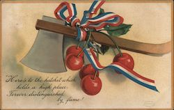 "Hatchet Cherries Ribbon ""Here's to the hatchet which holds a"