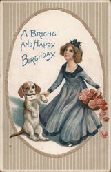 A Bright and Happy Birthday - Girl, Puppy and Flowers