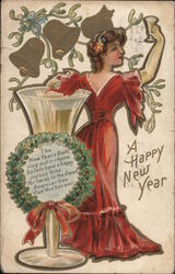 A Happy New Year - festively dressed woman holds her glass up to toast the New Year