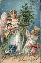 A Merry Christmas - Angel presents little girl with a small Christmas tree and a new doll