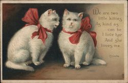 Two White Kitties With Red Bows