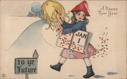 "Illustrated girl schoolchild embarking on a path ""To Ye Future"" trailing confetti holding a Jan 1"