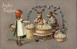 Joyful Easter: Girl collects eggs from two bunnies