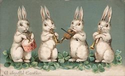 A Joyful Easter - Four White Easter Bunnies Playing Musical Instruments