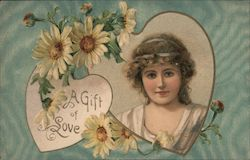 A Gift of Love, Pretty Woman and Daisies Postcard