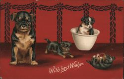 With best Wishes - Dog sits while puppies play around her
