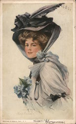 To-Day? Woman Wearing Gray Dress Hat Flowers Philip Boileau Art