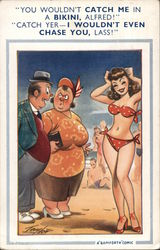 Couple Commenting on Bikini Clad Woman Postcard