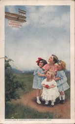 "Four Children Look at Sign ""Humphrey's Witch Hazel Oil (Compound)"