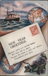 New Year Greetings Letter On Beach with Two Globes, Leafy Branch, and Ship at Sea in Background