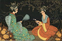 P-3 2 women in Japanese attire, sitting with a fan and a flower