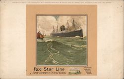 Red Star Line Ship at Sea Antwerpen - New York, Steamers: Vaderland, Kroonland, Zeeland, Finland