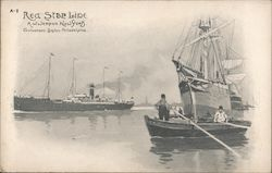 Red Star Line Paddle boat, Sail Boat, and Cruise ship in harbor