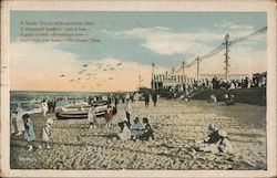 A Sandy Beach with waves so blue, A thousand bathers - not a few - A gala crowd - diversions new - And there you have - Old Ocean View Postcard