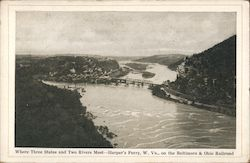 Where Three States and Two Rivers Meet - On the Baltimore & Ohio Railroad Postcard