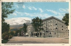 Acacia Hotel, Showing Platte Avenue with Pike's Peak in Distance