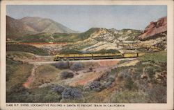 Diesel Locomotive Pulling a Santa Fe Freight Train in California