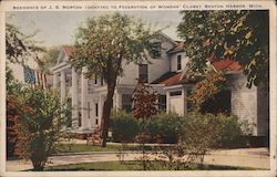 Residence of J. S. Morton (Donated to Federation of Womens' Clubs) Postcard