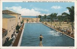 Swimming Pool and Cabanas - Nautilus Hotel Postcard