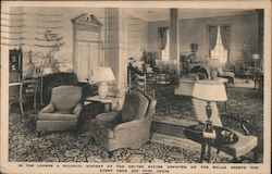 In the Lounge A Colonial History of the United States Depicted on the Walls Greets the Guest from his Easy Chair Postcard