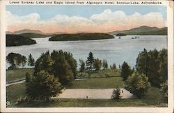 Lower Saranac Lake and Eagle Island from Algonquin Hotel Postcard