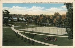 Bird's Eye View of Cummings Park and Tennis Court Postcard