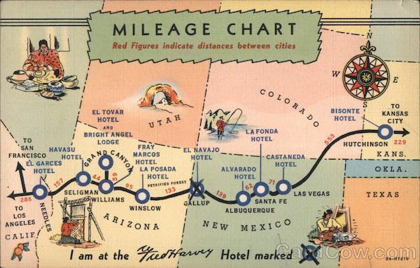 Mileage Chart Santa Fe Route Maps