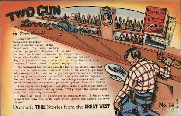 Two Gun Lover - Post Card Storiette No. 14 by Oren Arnold
