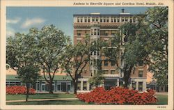 Azaleas in Bienville Square and Cawthon Hotel