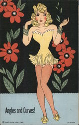 Angles and Curves - Girl in Lingerie Postcard