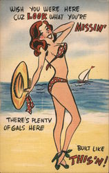 "Cartoon - Woman in skimpy swimsuit posing on the beach. ""Wish you were here"" Postcard"