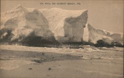 Ice Wall on Beach, 1936 Postcard