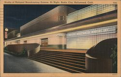 Studio of National Broadcasting System. At Night, Radio City Postcard