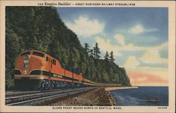 The Empire Builder-Great Northern Railway Streamliner-Along Puget Sound North of Seattle, Wash.