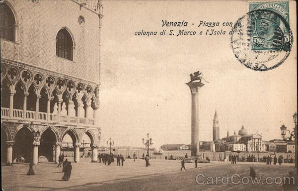 Venice - Square with St. Mark's column and St. George's Island Italy
