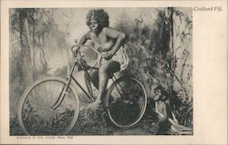 Civilized Fiji - Native Woman on a Bicycle Postcard