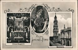Interior and exterior photographs of the Pontifical Shrine of the Blessed Virgin of the Rosary of Pompei Postcard