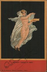 Illustration of a nude dancer holding a box