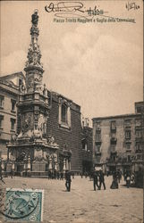 City square in Naples with religious monument Postcard