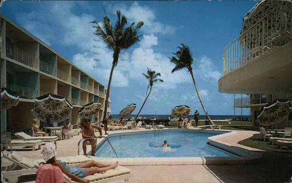 The Golden Falcon Hotel - View of the Pool and Ocean Pompano Beach Florida