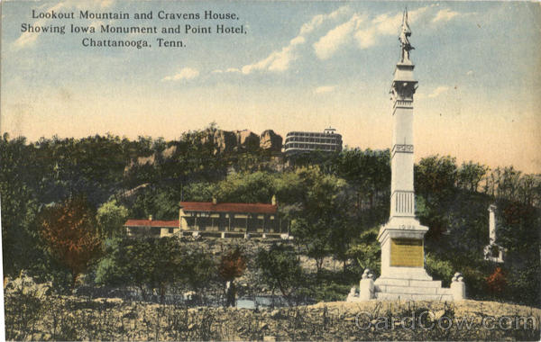 Lookout Mountain and Cravens House, showing Iowa Monument and Point Hotel Chattanooga Tennessee