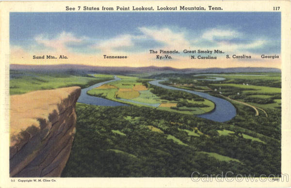 See 7 States from Point Lookout, Lookout Mountain Tennessee