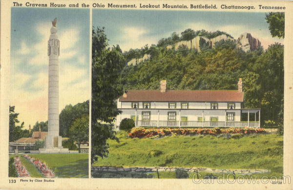 The Cravens House and the Ohio Monument, Lookout Mountain Battlefield Chattanooga Tennessee