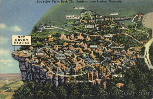 Bird's-Eye View, Lookout Mountain Rock City Gardens Tennessee