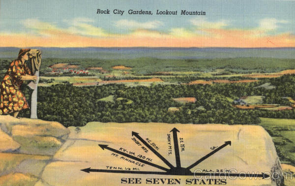 See Seven States, Lookout Mountain Rock City Gardens Tennessee