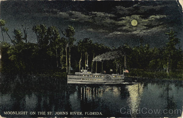 Moonlight on the St.Johns River, Steamboat St. Johns River Florida
