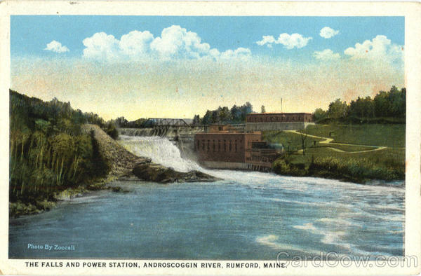 The Falls And Power Station, Androscoggin River Rumford Maine