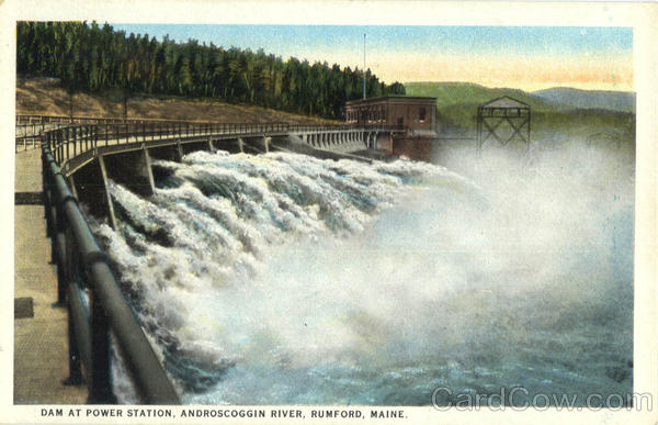 Dam at Power Station, Androscoggin River Rumford Maine