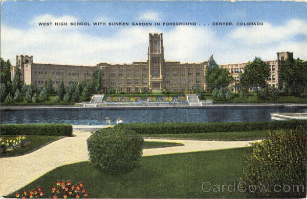 West High School With Sunken Garden In Foreground Denver Colorado